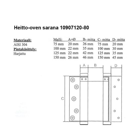 PISLA HEITTO OVEN SARANA 125MM RST Saluunan oven saranat  läpikuljettava  T